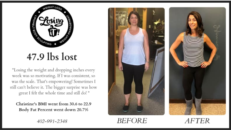 Christine Miller before and after Losing iT Weight Loss Center